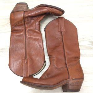 Vtg Frye Cowboy High Heel Boots